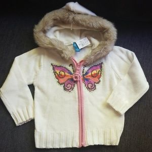 The Children's Place Sweater Hoodie Faux Fur 4T